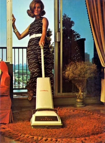 Woman with Vacuumcleaner retro picture